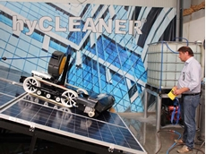 The hyCLEANER black SOLAR enables easy semi-automatic cleaning with a radio remote control.
