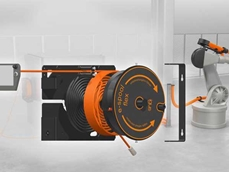 With the modular e-spool flex, cables can be stowed away easily and safely - for example, on robot operating panels.