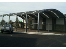 The new curved roof shelter at the north Melbourne school