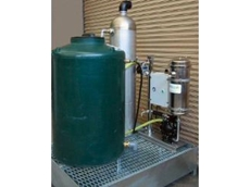 Oily water separator with aeration tank and oil collection tank on a galvanised bund