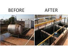 Before and after the installation of the Ultraspin oily water separation system