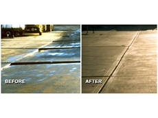 The Cadbury-Schweppes warehouse driveway before and after concrete relevelling