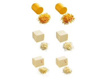 Affinity™ cheese cuts types include 3.2 to 50.8mm dice and 3.2 to 50.8mm length strip with thickness 3.2 to 19.1mm