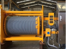 Complete winch shown without covers or wire rope
