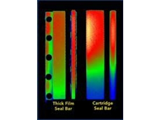 This thermal scan shows the even thermal output of Watlow's thick film heaters versus traditional cartridge heaters.
