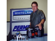 Rob Whitelaw with some of the Permco range of mobile gear pumps and motors.