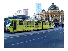 WorkSafe's awareness campaign tram