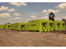 The SCBAs are stored in moveable storage pods located at work sites within the mine