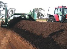 Compost turner on the YLAD humus compost site at Young, NSW