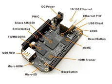 BeagleBone Black Rev. C Development Platform based on TI Sitara AM3358 Processor